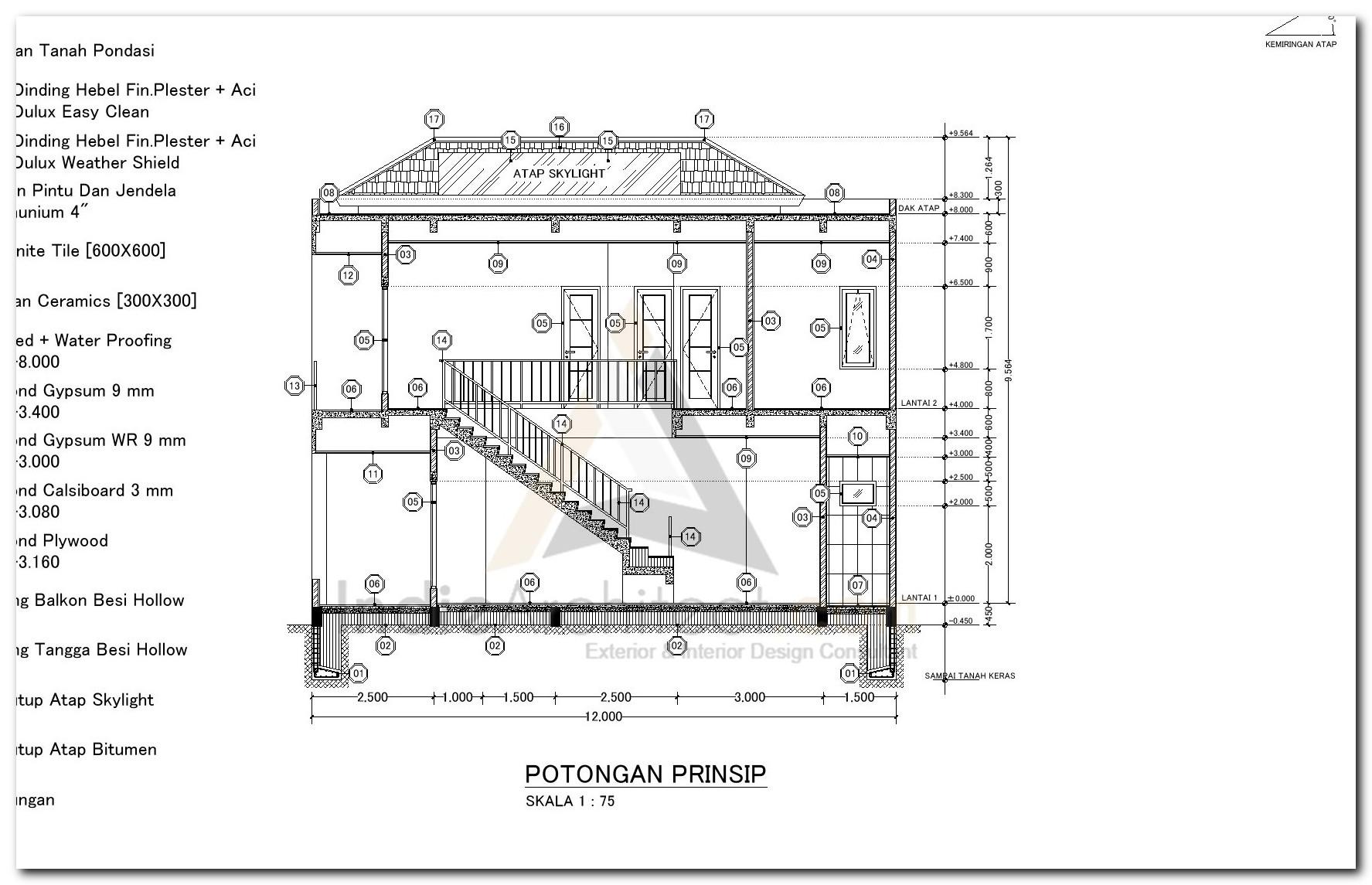 Download Gambar Kerja Potongan Prinsip Rumah 2 Lantai Indie Architect